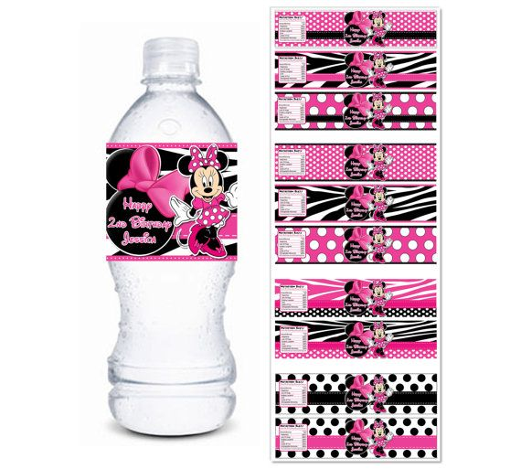 ANY Set Of 2 MINNIE MOUSE Water Bottle Labels   Pink Black Zebra Minnie  Mouse Water