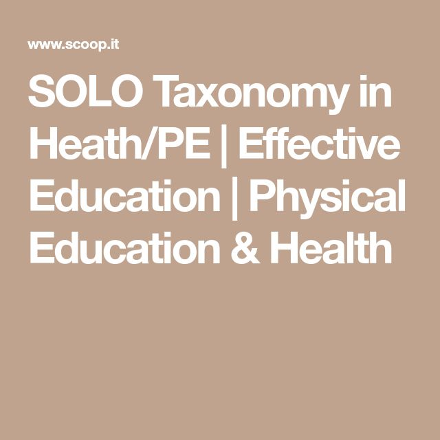 SOLO Taxonomy in Heath/PE | Effective Education | Physical Education & Health