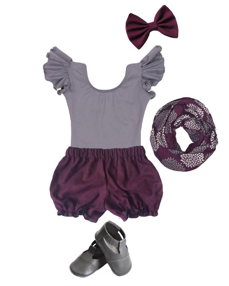 Very stylish little girl outfit in plum/grey combination featuring MiniMo grey sandals.