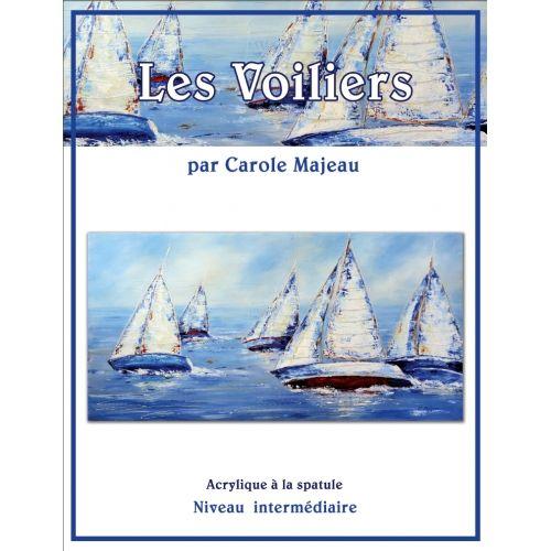 Création de Carole Majeau - Patron de projet à peindre à l'acrylique et à la spatule, voilier, mer, bateau, souvenir de voyage, peinture