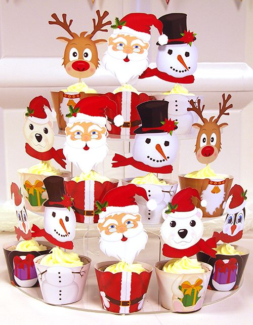 Cupcake Wrappers, Christmas Cupcake Wrappers, printable template