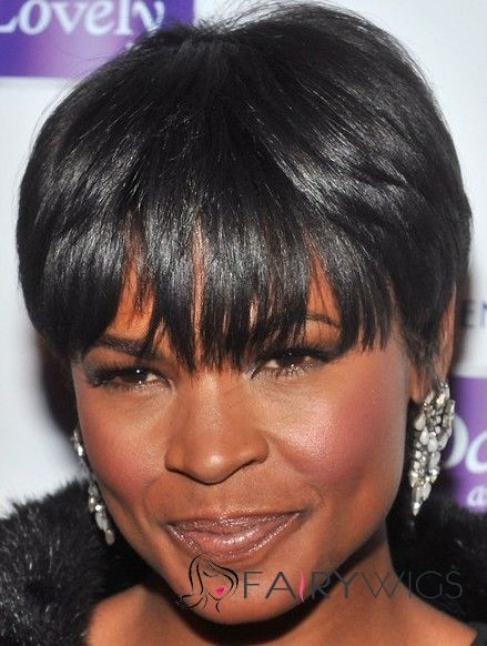 Hot Short Straight Black African American Wigs for Women