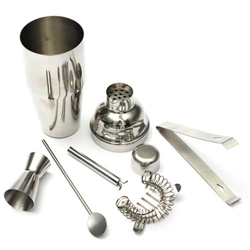 5 in 1 750ml Stainless Steel Cocktail Shaker Mixer Bartender Bar Set Kit Tools