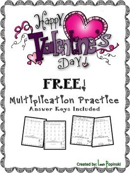 """FREE! Valentine's Day Math - Valentine's Day Multiplication: Two free multiplication printables to review and practice facts! Each page includes """"thinking questions"""" that review other math skills as well as multiplication facts. Answer keys are included."""