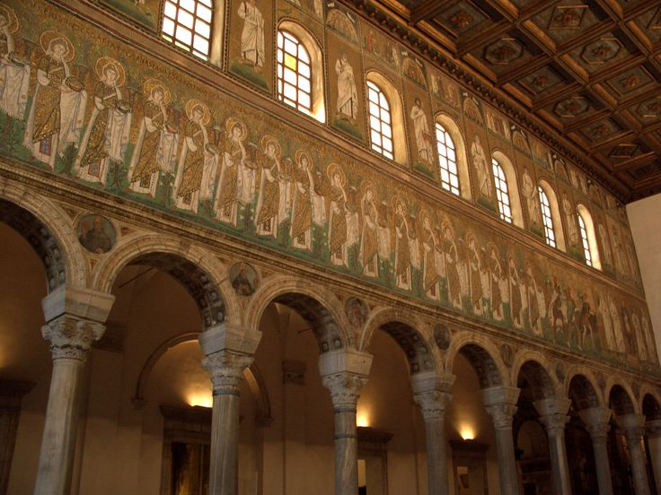 Main nave of the byzantine basilica of Sant'Apollinare Nuovo in Ravenna, Italy.