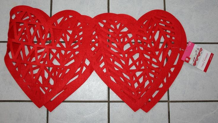 New Target Valentine's Day Red Felt Hearts Cutout Table Runner ~14 in x 48 in~ #Target