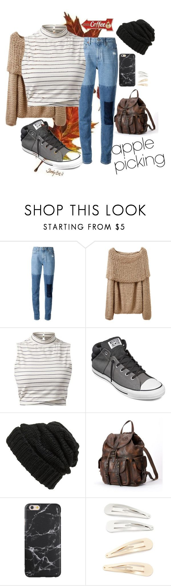 """""""🍎"""" by akeiryn ❤ liked on Polyvore featuring Paige Denim, Converse, Leith, Frye, Kitsch and applepicking"""