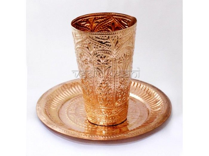 Copper Designer Glass with Puja Plate, online Vedicvaani.com. Pooja Plate, Pooja Thali, Glass Set, Buy Copper Tumbler Set for daily rituals, Abhishek purpose.