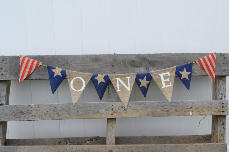 Stars and Stripes ONE Burlap Bunting Banner-First Birthday-Boy's Birthday-Girl's Birthday-Photo Prop- 4th of July- Memorial Day- High Chair by OliviasSweetLullaby on Etsy