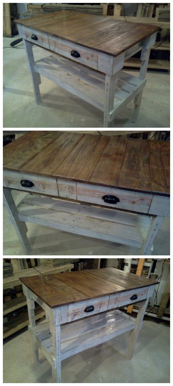 Distressed Pallet 'Kitchen Island' #KitchenIsland, #PalletFurniture, #RepurposedPallet