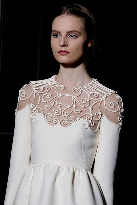 Elegant white dress with sheer panel & ornate piped pattens - textures & symmetry; fashion details // Valentino Haute Couture