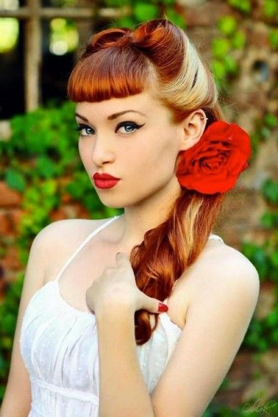 Retro Rockabilly Hairdo with Straight Bangs. I would do this for my wedding day