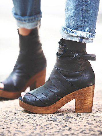 Spire Wrap Clog | Leather open toe clogs with slouchy ankle wrap. Spanish crafted with wooden heels.  *By Free People