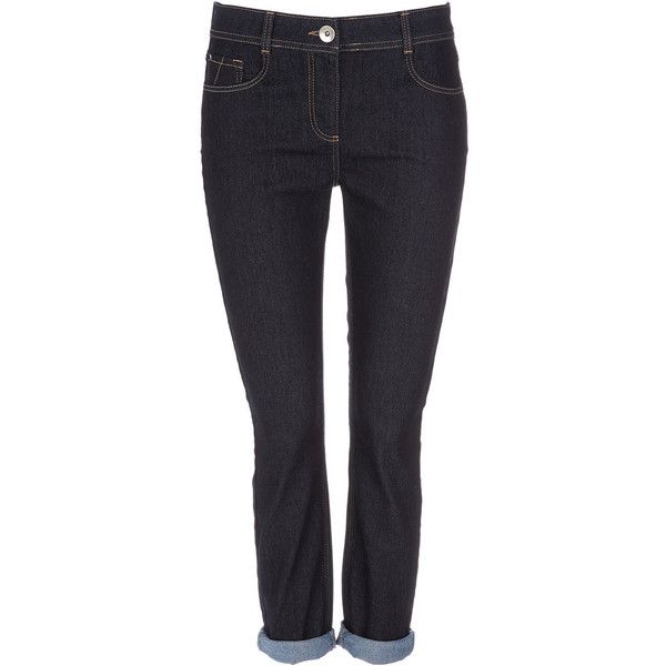 Navy Blue Roll Up Jeans ($25) ❤ liked on Polyvore featuring jeans, pants, bottoms, navy jeans, navy blue jeans, rolled up jeans and rolled jeans