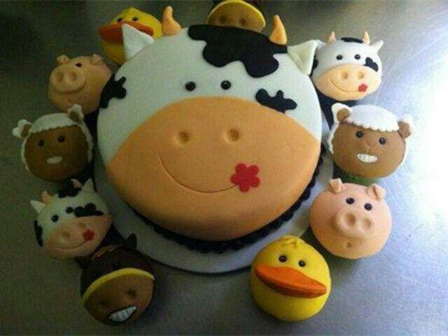Boerderij taart met allerlei boerderijdieren #koe #eend #varken #paard #farm #country #animal
