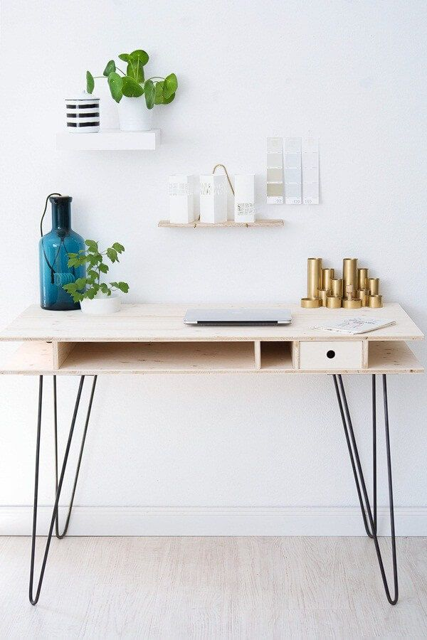 diy schreibtisch mit hairpin legs diy schreibtisch. Black Bedroom Furniture Sets. Home Design Ideas