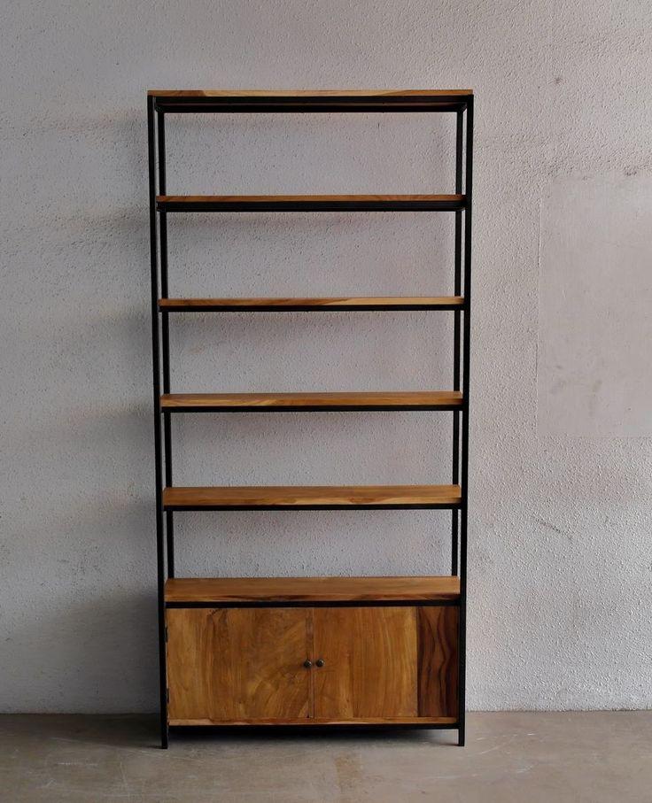 Estanteria madera y hierro google search llibreria - Estanterias hierro forjado ...
