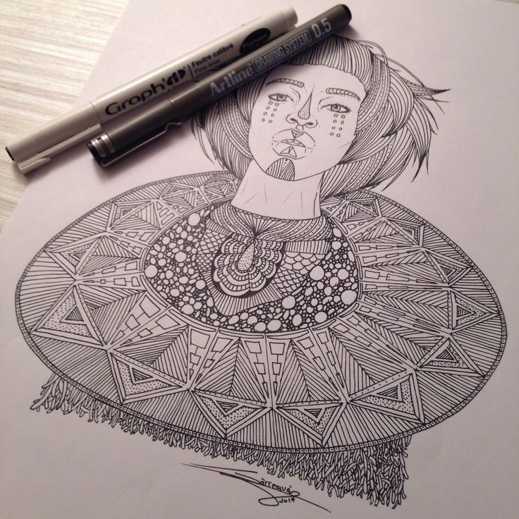My drawing tribal 003 , portrait of tribal girl ! You like this picture ?