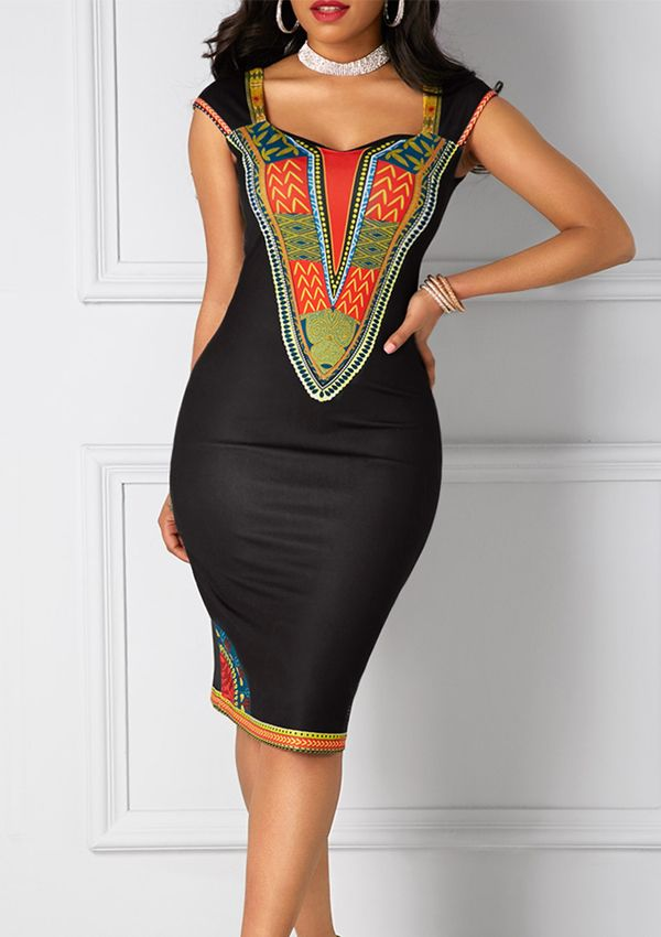 Black Open Back Dashiki Print Sheath  African Fashion Knee Length Midi Dress, variety designs and high quality at rosewe.com, check it out.