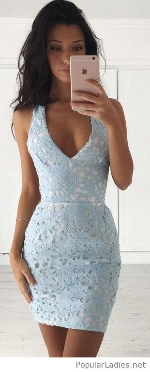 sweet-light-blue-lace-short-dress