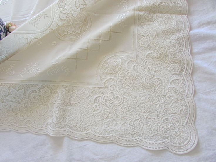 High Quality Vintage Vinyl Lace Tablecloth   Heavy Vinyl Tablecloth   Off White Lace      Plastic Tablecloth   Large Tablecloth By MomsGiftShoppe On Etsy