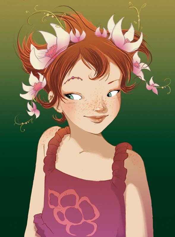 """Fairy Oak-Lavender Periwinkle. Pervinca ou simplesmente Vi. No livro """"Fairy Oak O segredo das gémeas"""", o 1º da série, da autoria de Elesabetta Gnone."""