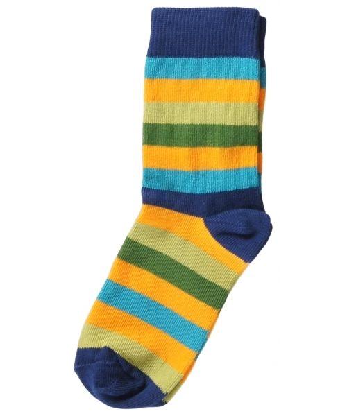 Maxomorra stribede drenge sokker. Stribede sokker fra Maxomorra. 70% økologisk bomuld og 30% elastan.