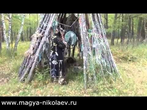 """Шаманизм. Язычество. Ритуал камлания у """"Золотого дерева"""" Хакасия. Лес пе..."""
