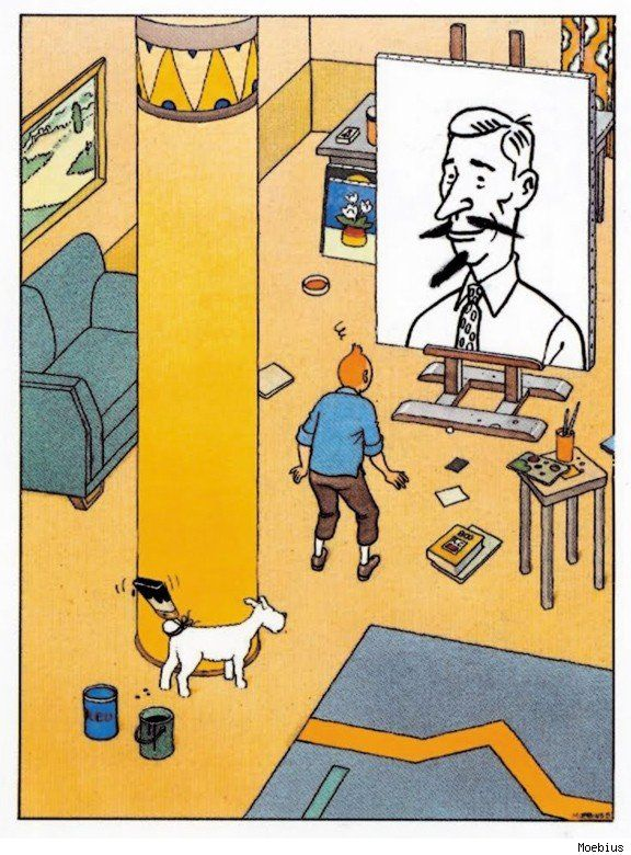 tintin and snowy painting herge by moebius • Herge, Tintin et moi
