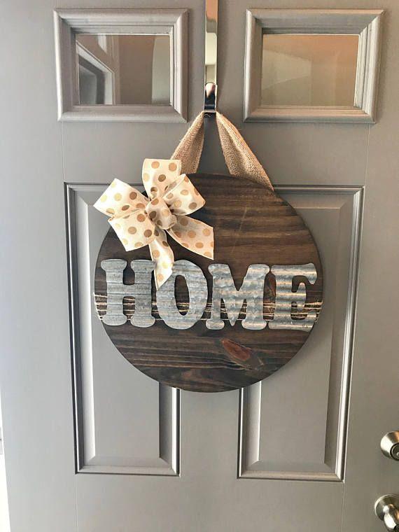 Home Door Hanger Wood Door Sign Front Door Sign Housewarming Gift New Home Sign Door Wreath Front Door Decor C Metal Door Front Door Decor Metal Letters