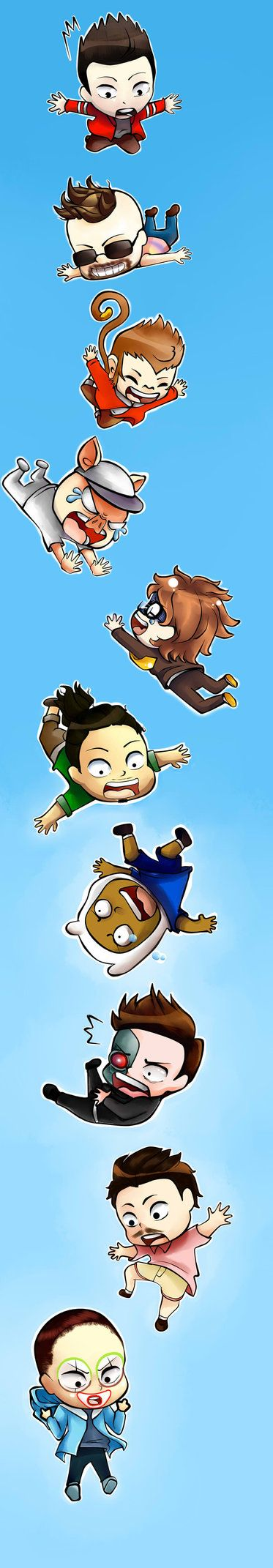 THE EPIC SKY DIVING by AikonX.deviantart.com on @DeviantArt - In order - Vanoss, Moo, Lui, Wildcat, Mini, Nogla, Marcel, Terroriser, Droid and Delirious.