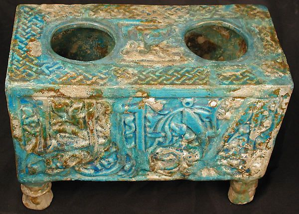 Tabouret Date: 12th–13th century Geography: Syria, Raqqa Culture: Islamic Medium: Stonepaste; molded and glazed