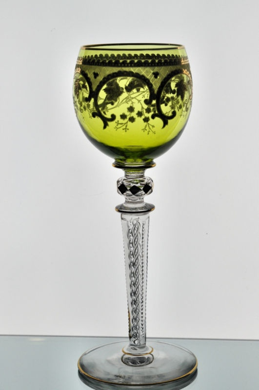 Antique Moser / St Louis Gold Gilt Leaf Air Twist Stem Wine Goblet Glass Green | eBay