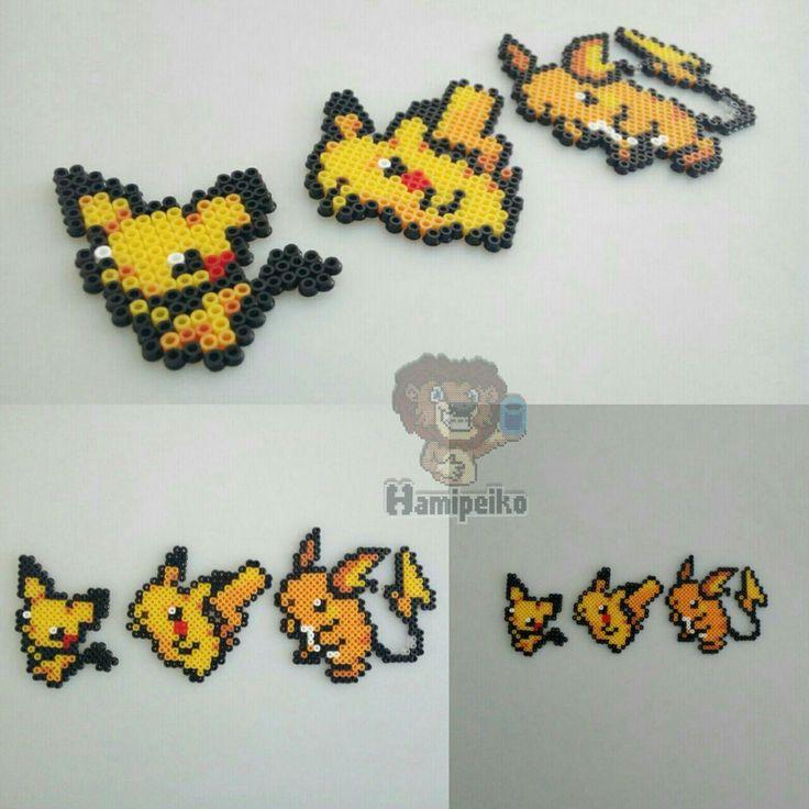 Pichu, Pikachu & Raichu, Pokemon, Hama Beads Midi/Mini