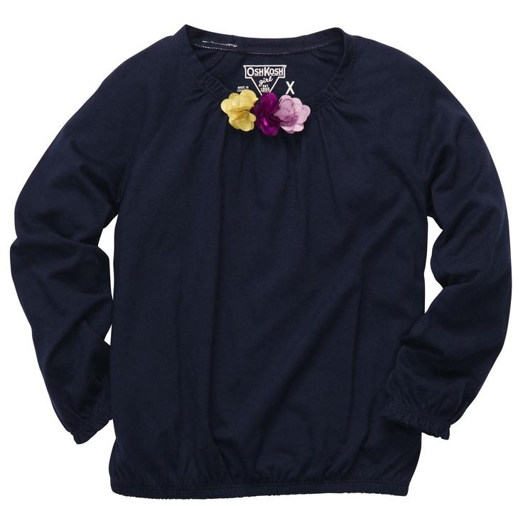 Navy Long-Sleeved Flower T-Shirt $10 OshKosh
