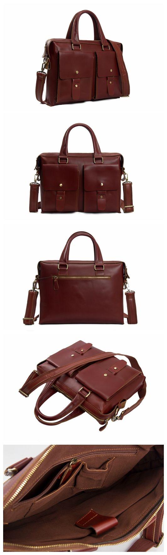 Dark Color Leather Briefcase Messenger Laptop Bag