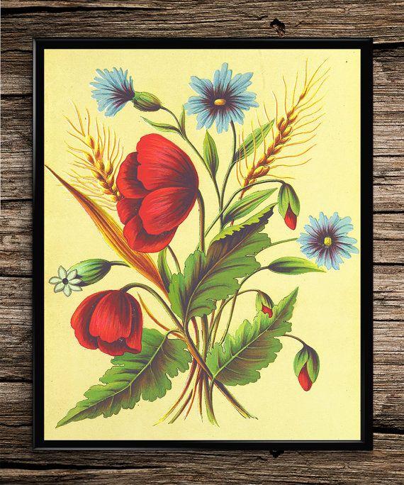 Floral Bouquet |  Vintage Prints | Botanical Prints | Home Decor | Office Decor | Printable Wall Art | Vintage Wall Art | Instant Download |
