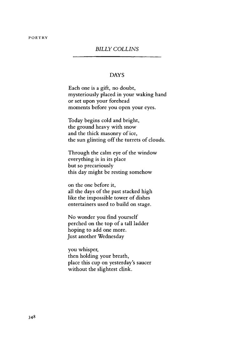 Billy Collins' Days September 1994 : Poetry Magazine [what a great poet]