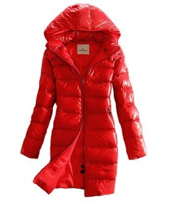 Moncler Coats Down Women Smooth Shiny Fabric Red www.onlakemac.com.