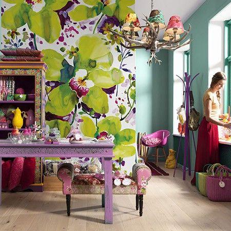 Haal een vrolijke, hippie-achtige look in je kamer met dit Komar-fotobehang Viva