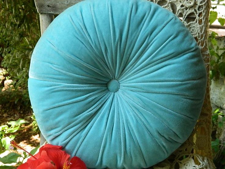 Turquoise Velvet Round Pillow 33 00 Via Etsy Need To