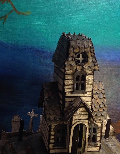 This is my Tim Holtz Village Manor in progress. It's a great die for making little Halloween houses.