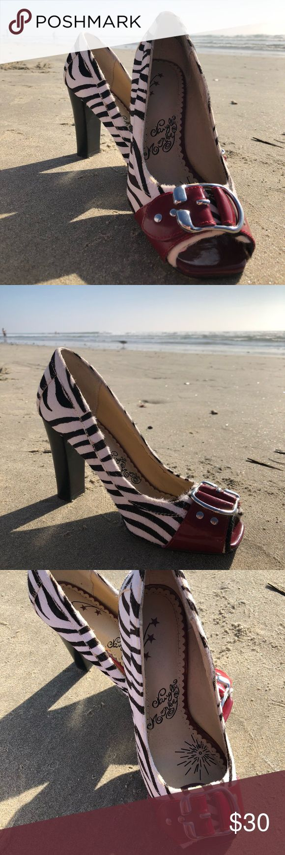 Naughty Monkey zebra heels with red accents Super fun shoes, in overall good condition minus some minor wear, mainly on bottom. naughty monkey Shoes Heels