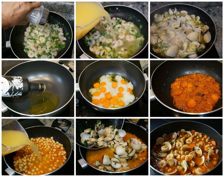 Preparación paso a paso de la receta de garbanzos con gambas y almejas