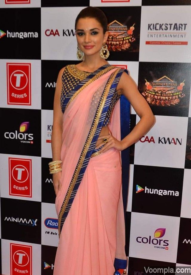 Amy Jackson wearing sari by Alpa and Reena traditional style