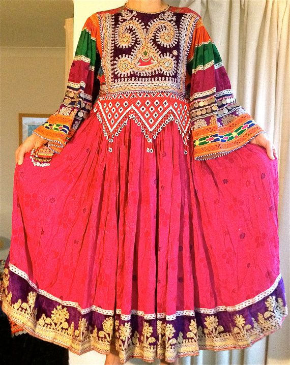 Handmade pretty pink vintage traditional Afghan Kuchi ethnic tribal dress UK S