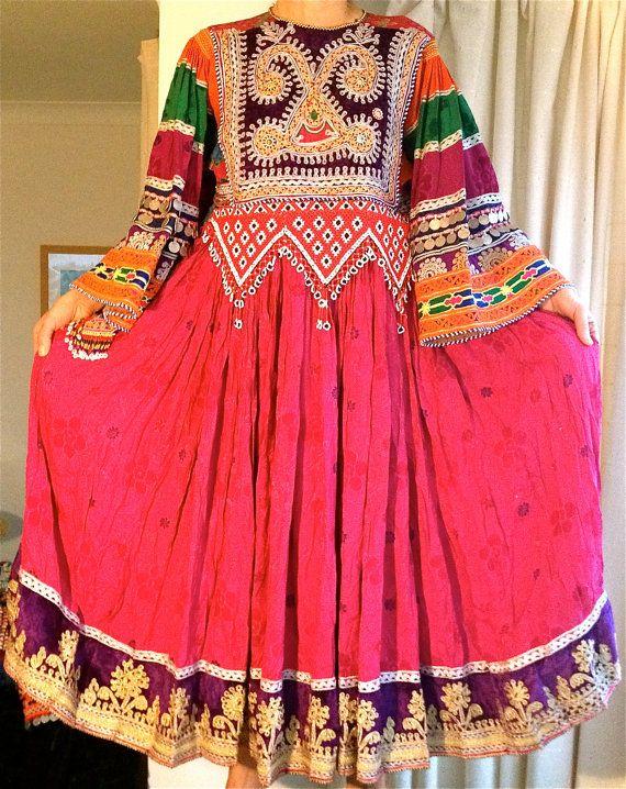 Handmade pretty pink vintage traditional Afghan Kuchi ethnic tribal dress UK S