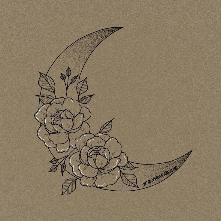 Blumenmond-Tätowierungsentwurf für Verkauf? . . #tattoo #tattoodesign #tattoodesig … #Tattoos