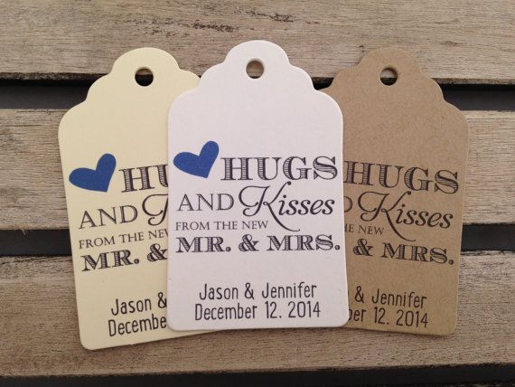 These Hugs and Kisses From The New Mr. & Mrs. wedding favor tags are the perfect way to easily spruce up and add a personalized touch to any
