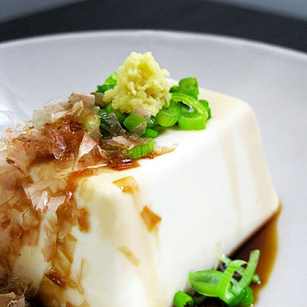 Hiyayakko - Chilled silken tofu with fresh ginger, bonito flakes and soy sauce